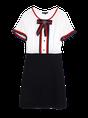 A-line Casual Color Block Bow Shorts Sleeve Mini Dress