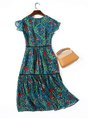 Keyhole Green A-line Daytime Casual Printed Floral Midi Dress