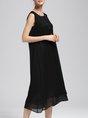 Black Daytime Casual Sleeveless  Solid Midi Dress
