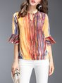 3/4 Sleeve Printed Striped Silk H-line Blouse