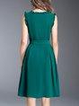 A-line Casual Sleeveless Ruffled Green Midi Dress