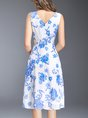 Blue Chiffon Casual Printed Floral Midi Dress