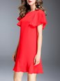 Red Flounce Casual Frill Sleeve Ruffled Statement Mini Dress