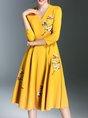 3/4 Sleeve Floral-embroidered V Neck Elegant Midi Dress