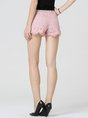 Pink Guipure Lace Cotton Casual Floral Shorts