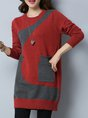Shift Color-block Long Sleeve Sweater Dress