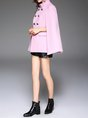 Pink Elegant Buttoned Poncho And Cape