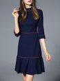 Turtleneck  Flounce Daytime Casual 3/4 Sleeve Piping Midi Dress