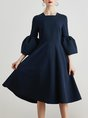 Midi Dress A-line Daytime Bell Sleeve Vintage Dress