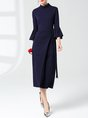 Stand Collar Sheath Elegant Bell Sleeve Asymmetric Statement Midi Dress