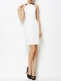 Halter White Sheath Party Slit Cocktail Statement Midi Dress
