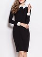 Shirt Collar Black Sheath Work Long Sleeve Elegant Cotton  Plain Midi Dress
