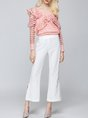 Statement Ruffled Paneled Buttoned Long Sleeve Solid Cotton Top