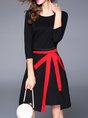 Casual Asymmetric Crew Neck Polyester Women's Clothing