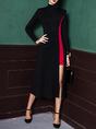 Party Black-red Cotton Paneled Statement Midi Dress