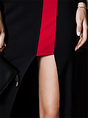 Party Black-red Cotton Paneled Statement Midi Dress