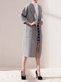 Casual Long Sleeve Solid Wool Coat