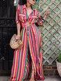 Shirt Collar  A-line Beach Short Sleeve Boho Pockets Striped Maxi Dress