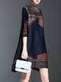 Stand Collar Navy Blue Midi Dress A-line Daily 3/4 Sleeve Printed Dress