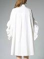 Shirt Collar  Midi Dress Shift Daily Cotton Solid Dress