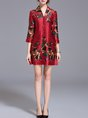 Daily Half Sleeve Printed/Dyed Floral Mini Dress