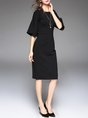 Black Midi Dress Sheath Daytime Bell Sleeve Solid Dress