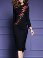 Stand Collar Black Bodycon Long Sleeve Cocktail Midi Dress