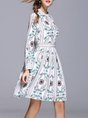 Stand Collar Lightgreen Long Sleeve Printed  Midi Dress