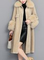 Buttoned Pockets Winter Fur and Shearling Coat