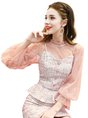 Pink Stand Collar Casual Three-Piece Set