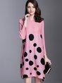Statement Shift Daily Printed Polka Dots Midi Dress
