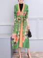 Vintage Shawl Collar Floral-Print Trench Coats