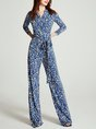 Pockets Casual 3/4 Sleeve Surplice Neck Jumpsuits