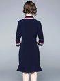 Lapel Flounce Daily Statement Midi Dress