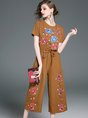 Khaki Crew Neck Floral-Embroidered Jumpsuits