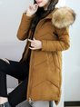 Hoodie Solid Pockets High Low Down Coats