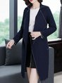 Navy Blue Long Sleeve Pockets Work Solid Trench Coats