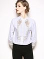 Embroidered Paneled Long Sleeve Work Blouses