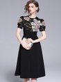 Black A-Line Floral Cocktail Midi Dress