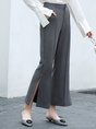 Fall Solid Pockets Slit Flared Pant