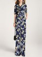 Casual Printed Tie-Neck Flora Jumpsuit