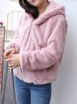 Pink Pockets Hoodie Casual Fur And Shearling Coats
