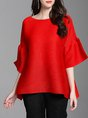 Fringed Pleated Crew Neck Solid Bell Sleeve T-Shirts