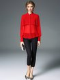 Pleated Solid Work Paneled Buttoned Blouses