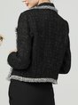Black Lapel Buttoned Paneled Cropped Jackets