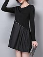 A-Line Date Paneled Black Mini Dress