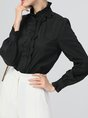 Work Stand Collar Paneled Ruffled Blouses