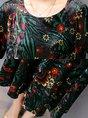 Shift Casual Printed Velvet Green Midi Dress