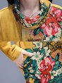 Turtleneck Shift Casual Cotton Midi Dress