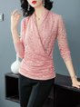 Long Sleeve Gathered Guipure Lace Blouses